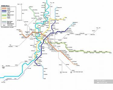 Детальная карта метро Рима - скачать или распечатать.