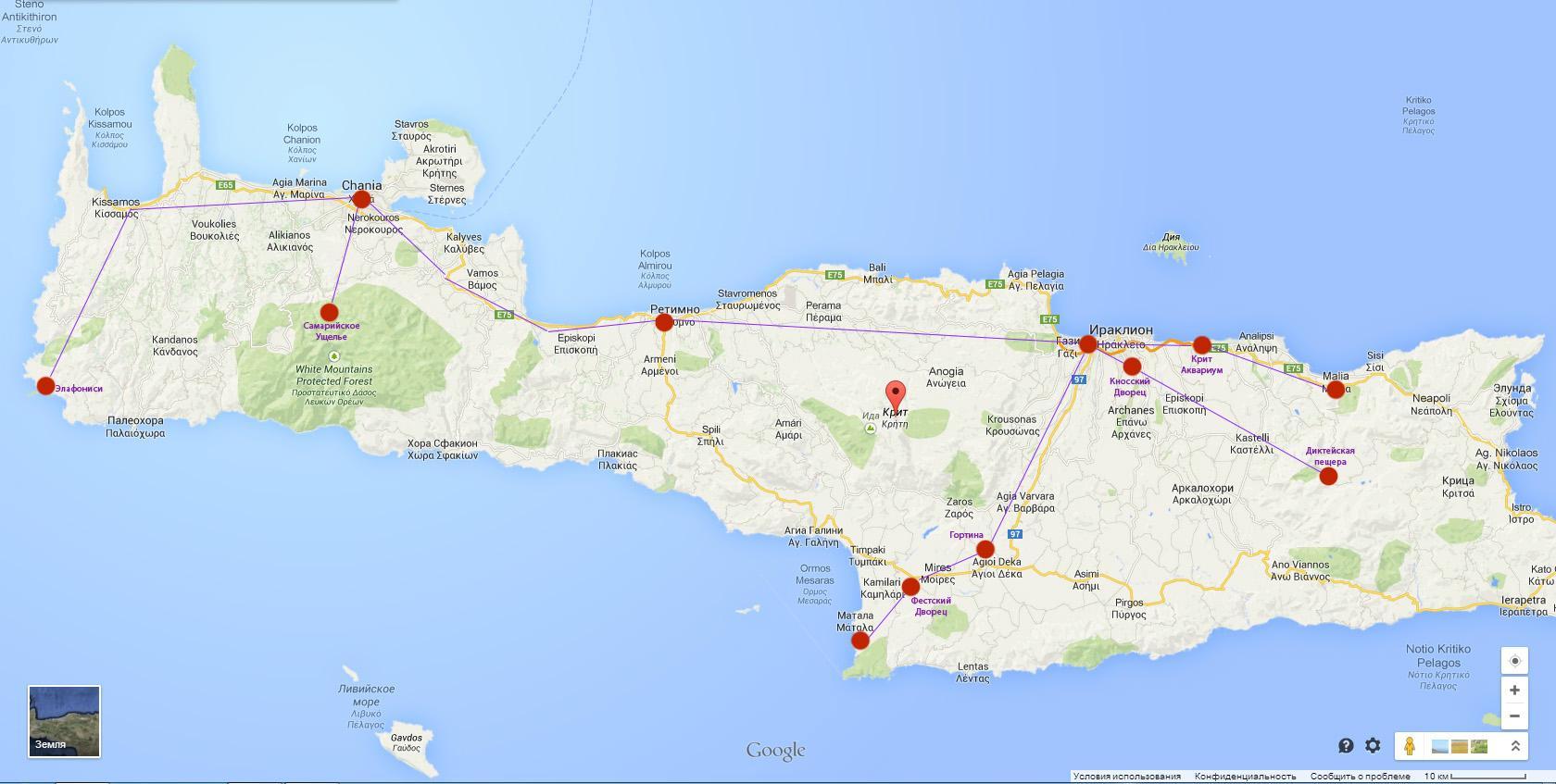 карта пляжей крита с фото ним милла